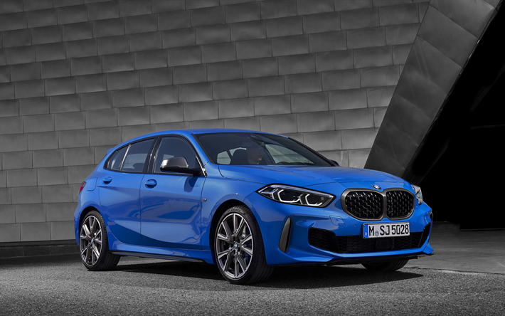 BMW 1, 2020, BMW M135i xDrive, blue hatchback, front view, exterior, new blue M1, German cars, BMW