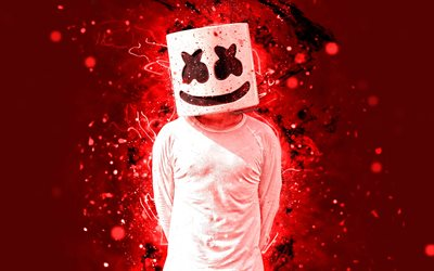 4k, DJ Marshmello, superstars, Christopher Comstock, red neon lights, artwork, american DJ, fan art, Marshmello 4K, music stars, creative, Marshmello, DJs