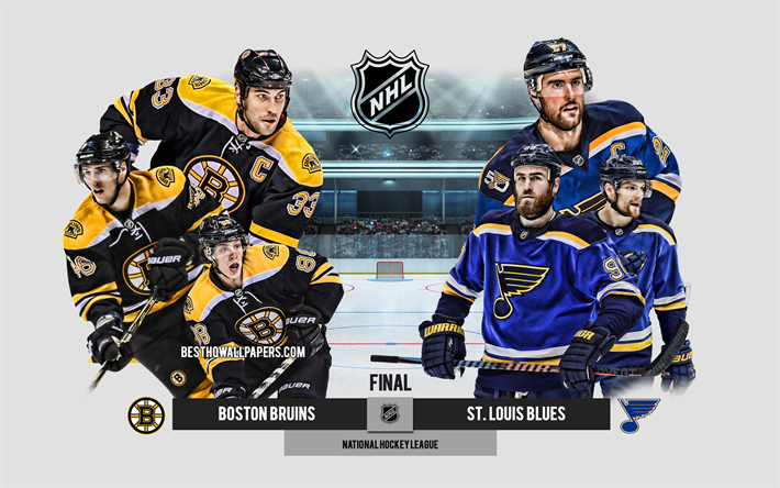 Boston Bruins vs St Louis Blues, 2019 Stanley Cup Finals, NHL, promotional materials, team leaders, National Hockey League, hockey match, final, Zdeno Chara, USA, hockey