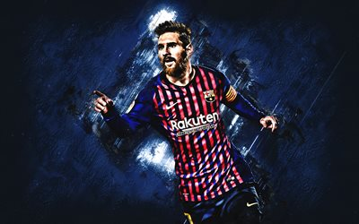 Lionel Messi, FC Barcelona, Argentine footballer, striker, football star, blue stone background, La Liga, Spain, Catalonia, Barcelona, football, Messi