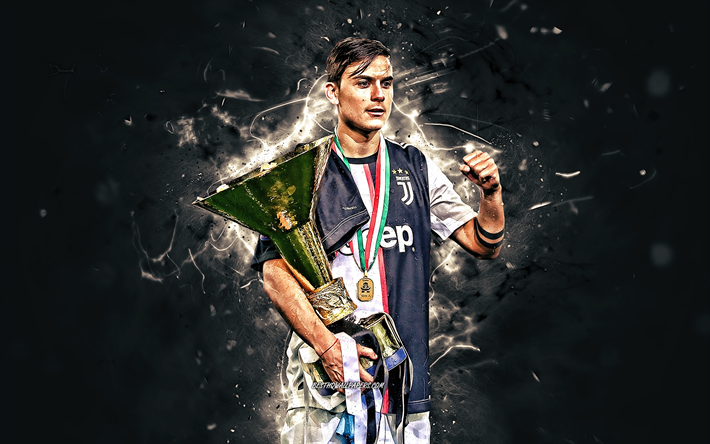 quality design 670b6 6f71f Download wallpapers Paulo Dybala with cup, Bianconeri, 2019 ...