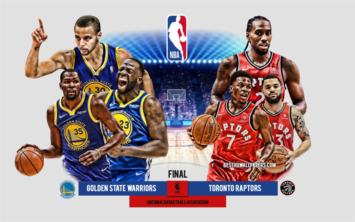 Golden State Warriors vs Toronto Raptors, 2019 NBA-slutspelet, sista, basket spel, NBA, 2019 NBA-Finalerna, Golden State Warriors, Toronto Raptors, National Basketball Association, promo, basket