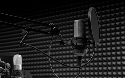 Microphone, sound recording studio, singing concept, bandstand