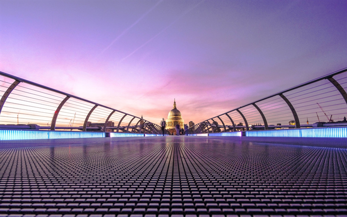 Download Wallpapers 4k Millennium Bridge England London Uk For Desktop Free Pictures For Desktop Free