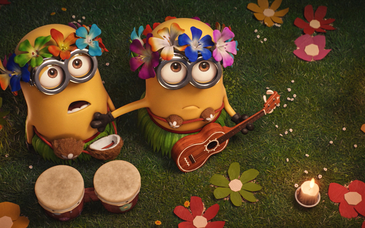 Download Wallpapers Minions, Beach Musicians, Party -5750