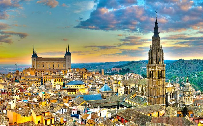 Toledo, Alcazar of Toledo, Toledo Cathedral, Primate Cathedral of Saint Mary of Toledo, HDR, evening, sunset, cathedral, Toledo cityscape, Spain