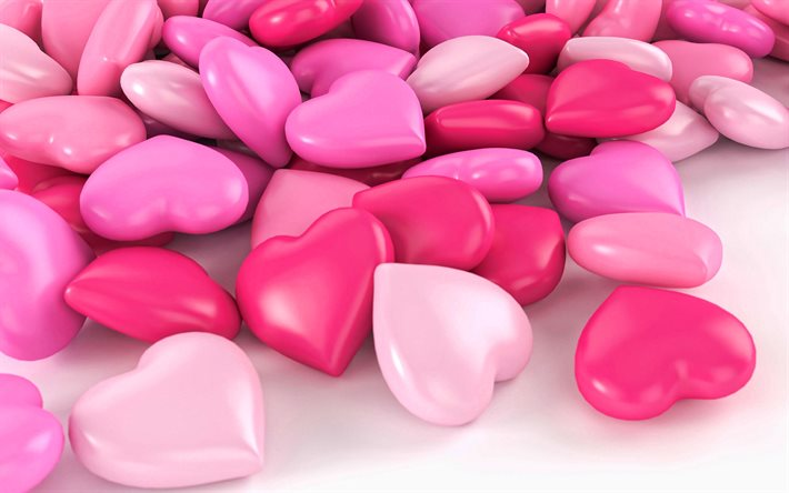 pink 3d hearts, creative hearts background, pink hearts, background with 3d hearts, love pink background