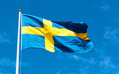 Flag of Sweden on a flagpole, Swedish flag, flag of Sweden, flagpole, blue sky, Sweden