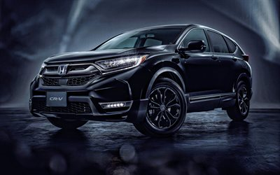 Honda CR-V Black Edition, 2020, 4k, front view, exterior, black SUV, new black CR-V, tuning CR-V, Japanese cars, Honda