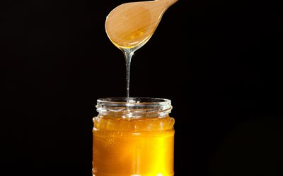 honey, spoon with honey, honey jar on black background, honey jar, honey concepts
