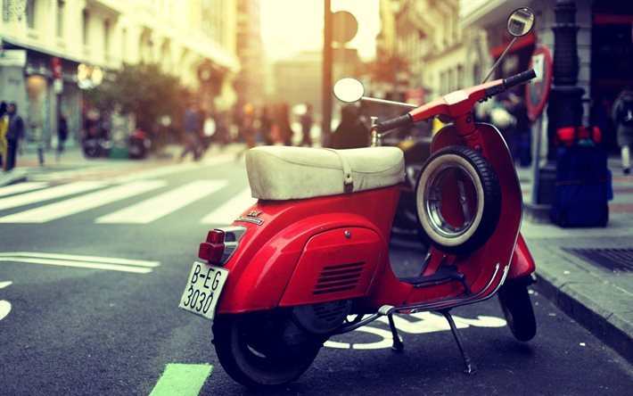 vespa, scooter, moped, street