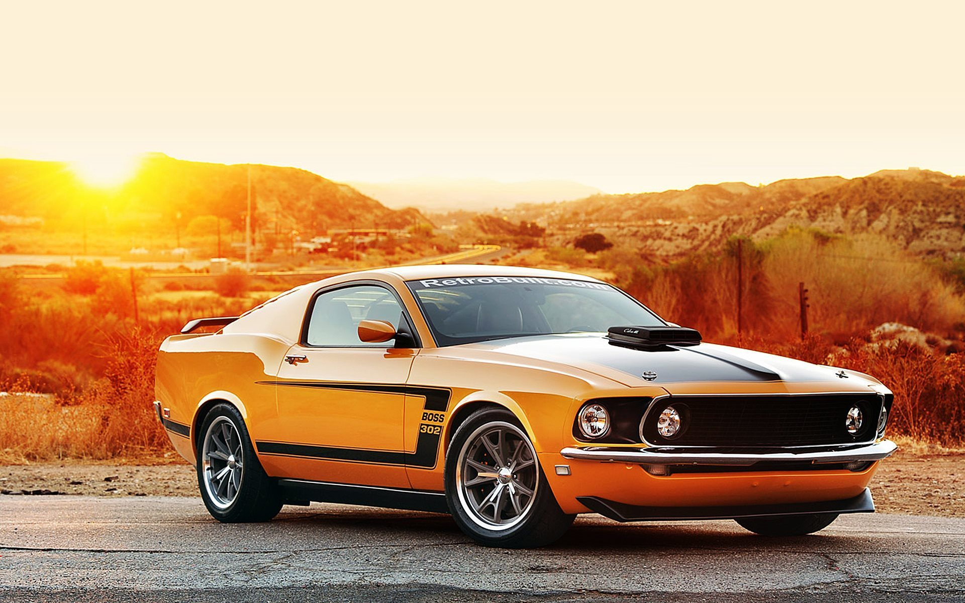 sunset, musculary, ford mustang