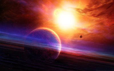 bright sun, lights, planet, galaxy
