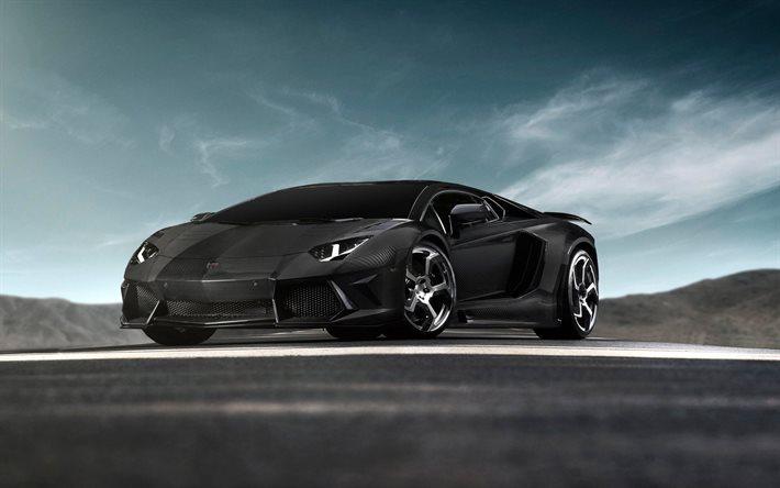 Download Wallpapers Black Aventador Supercars Carbon Lamborghini