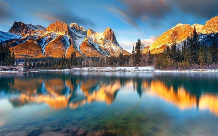 canada, lake, winter, albert, canmore lake, mountains, alberta