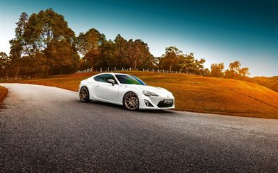 road, supercars, 2015, toyota gt86, vit toyota, sunset