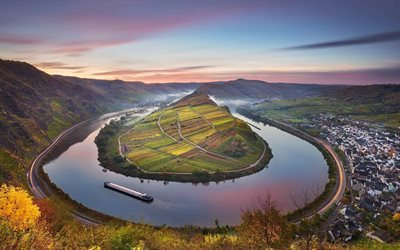 braine, allemagne, barge, moselle, l'automne