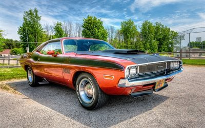 retro cars, dodge challenger, hdr, 1970, musculary, dodge