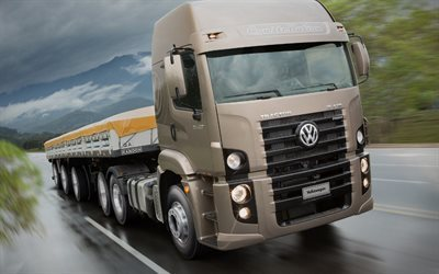 trucks, 2016, rain, road, volkswagen constellation, volkswagen