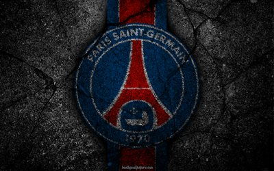 PSG, logo, Paris Saint-Germain, art, Liga 1, soccer, football club, Ligue 1, grunge, PSG FC