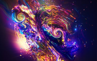 4k, fractals, abstract waves, 3d art, creative, fractal art, colorful waves