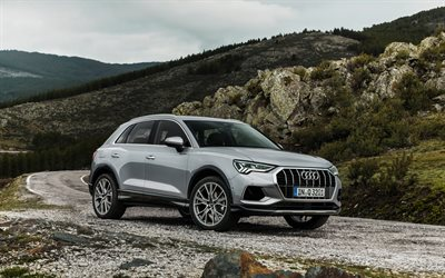Audi Q3, 4k, mountain road, 2019 cars, crossovers, gray Q3, german cars, Audi