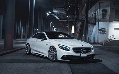 Mercedes-Benz S63 AMG, luxury tuning, front view, white coupe, new white S63, silver wheels, Mercedes