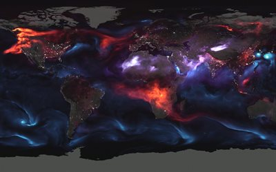 World map, night, Earth, atmosphere, air currents, world map concepts, Earth at night, city lights, map