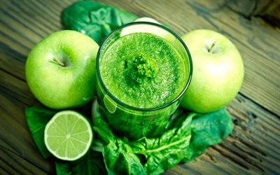 apple smoothies, 4k, fruits, breakfast, smoothie in apples, healthy food, fruit smoothies, apples