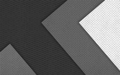 4k, material design, gray and white, geometry, circles, geometric shapes, lollipop, lines, creative, strips, gray backgrounds