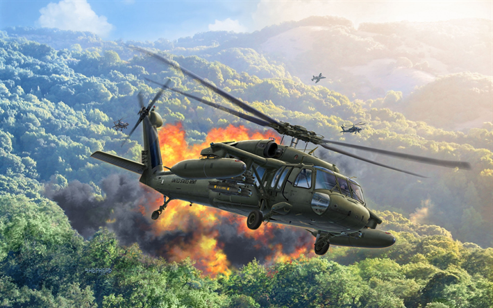 Sikorsky UH-60ブラックホーク, UH-60A, アメリカ軍のヘリコプター, アメリカ陸軍, 戦闘ヘリコプター, 軍用機, 米国, Sikorsky航空機