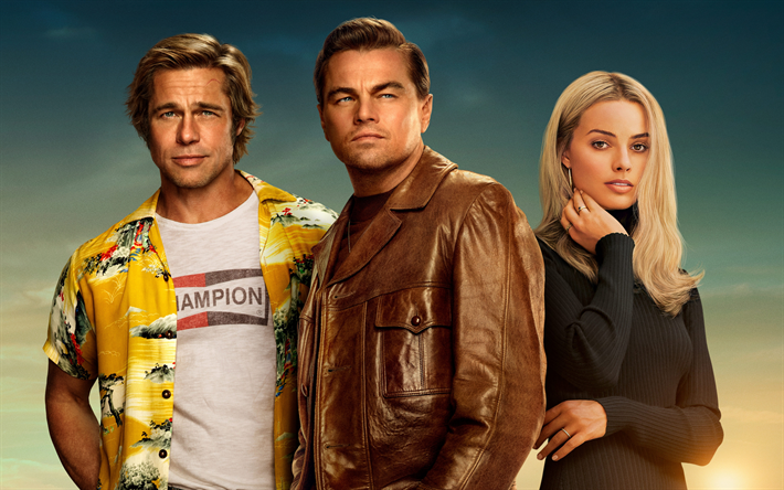 Once Upon a Time in Hollywood, 2019, promo, all characters, main characters, Margot Robbie, Leonardo DiCaprio, Brad Pitt