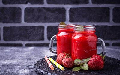 strawberry smoothies, macro, berries, fruits, breakfast, smoothie in glassful, healthy food, strawberry, fruit smoothies, smoothies with strawberry