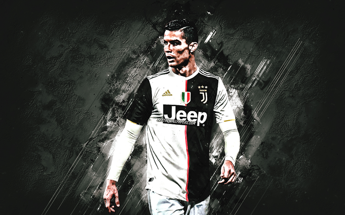 Download Wallpapers Cristiano Ronaldo Portrait Juventus Fc
