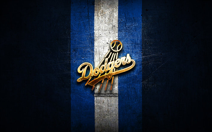 Download Wallpapers Los Angeles Dodgers Golden Logo Mlb Blue Metal Background American Baseball Team Major League Baseball Los Angeles Dodgers Logo Baseball Usa La Dodgers For Desktop Free Pictures For Desktop Free