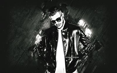 DJ Snake, French DJ, portrait, William Sami Etienne Grigahcine, creative art, gray stone background, popular DJs