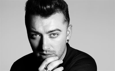 Sam Smith, british singer, portrait, photoshoot, monochrome, famous singers