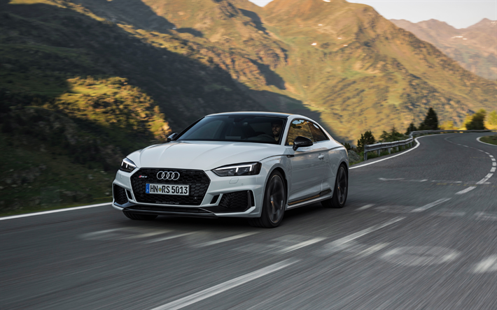 Download Wallpapers Audi Rs5 Coupe 2018 4k White Rs5 Sports