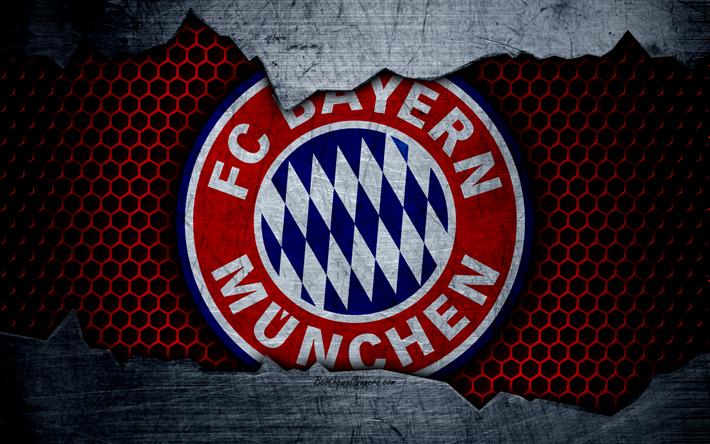 Download Wallpapers Bayern Munich, 4k, Logo, Metal