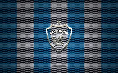 Londrina FC logo, Brazilian football club, metal emblem, blue white metal mesh background, Londrina FC, Serie B, Londrina, Brazil, football
