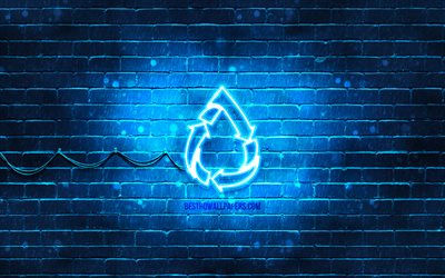 Save Water neon icon, 4k, blue background, neon symbols, Save Water, creative, neon icons, Save Water sign, ecology signs, Save Water icon, ecology icons