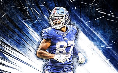 4k, Sterling Shepard, grunge art, New York Giants, football américain, NFL, Sterling Clay Shepard, NY Giants, blue abstract rays, Sterling Shepard 4K