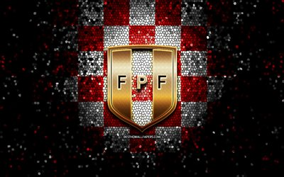 Peruvian football team, glitter logo, Conmebol, South America, red white checkered background, mosaic art, soccer, Peru National Football Team, FPF logo, football, Peru