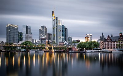 Frankfurt am Main, Hesse, river Main, evening, sunset, Frankfurt cityscape, Frankfurt skyscrapers, panorama, Germany