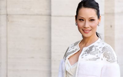 Lucy Liu, american actress, portrait, photoshoot, smile, white shirt