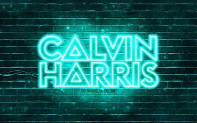 Calvin Harris turquoise logo, 4k, superstars, scottish DJs, turquoise brickwall, Calvin Harris logo, Adam Richard Wiles, Calvin Harris, music stars, Calvin Harris neon logo