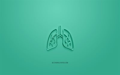 Lungs 3d icon, green background, 3d symbols, Lungs, creative 3d art, 3d icons, Lungs sign, Eco 3d icons