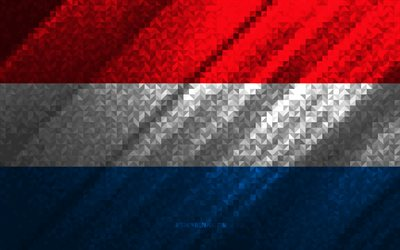 Flag of Luxembourg, multicolored abstraction, Luxembourg mosaic flag, Europe, Luxembourg, mosaic art, Luxembourg flag