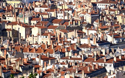 Lyon, houses, morning, rooftops, Lyon cityscape, panorama, France