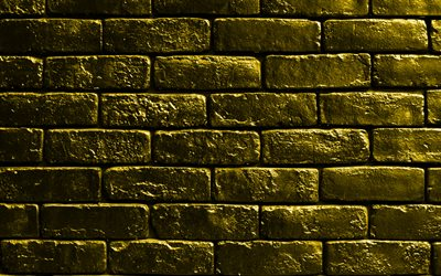 yellow brickwall, 4k, yellow bricks, bricks textures, brick wall, bricks background, yellow stone background, identical bricks, bricks, yellow bricks background